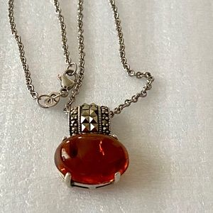 Sterling Marcasites and Cognac Amber necklace